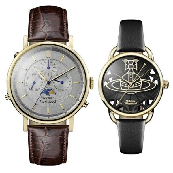 ヴィヴィアン ウエストウッド 時計 ペアウォッチ ダークブラウン ブラック レザー VV164CHBRVV163BKBK ペアセット カップル  ブランド 【