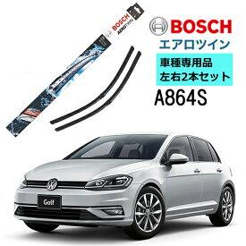 BOSCH ワイパー A864S フォルクスワーゲン VW ゴルフ7 5G1 車種専用品 運転席 助手席 2本 セット 3397007864 ボッシュ エアロツイン ワイパー AERO TWIN フラットワイパー 輸入車 右ハンドル車用 ワイパーブレード 替え ウインドウケア ビビリ音 低減 ポリマー コーティング