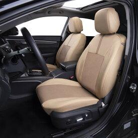 フロント シートカバー 運転席 助手席 車 シート保護 ヘッドレスト保護 サイドエアバッグ対応 内装 素材 パーツ ベージュ