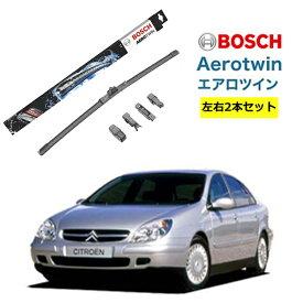 BOSCH ワイパー シトロエン C5 運転席 助手席 左右 2本 セット AP26U AP18U ボッシュ エアロツイン 型式:X4| AERO TWIN フラットワイパー 適合 ワイパーブレード 替え ウインドウケア ビビリ音 低減 ポリマー コーティング ゴム