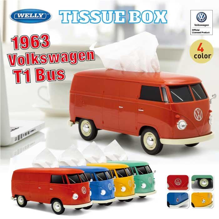 【グリーン 再入荷】フォルクスワーゲン T1バス ティッシュケース ティッシュカバー ボックス 車型