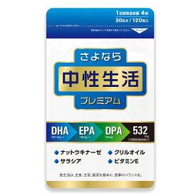 【送料無料】さよなら中性生活プレミアム DHA EPA DPA サプリ サプリメント 健康食品 栄養補助食品 中性脂肪 コレステロール 内臓脂肪 クリルオイル ビタミンE ナットウキナーゼ サラシア アスタキサンチン リン酸 タブレット ソフトカプセル 国産 日本製 [M便 1/4]
