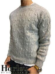 ハーレーオブスコットランドシェットランドウールケーブル編みクルーネックセーター【送料無料・代引き手数料無料】