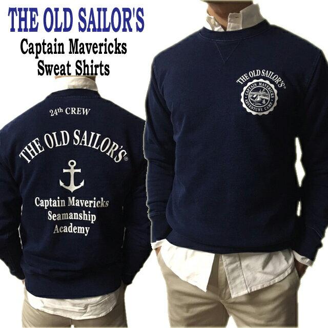 THE OLD SAILOR'S オールドセイラーズ スウェットシャツインディゴ染めコットン100% 綿100% バックプリント