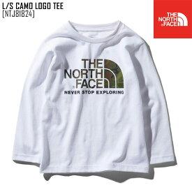 セール ノースフェイス NTJ81824 キッズ Tシャツ 長袖 ロンT アウトドアブランド L/S CAMO LOGO TEE