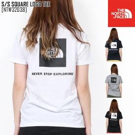 春夏新作 ノースフェイス THE NORTH FACE NTW32038 S/S スクエア ロゴ ティー S/S SQUARE LOGO TEE Tシャツ トップス レディース