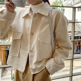 ジャケット レディース ステンカラー アウター 羽織り スプリングコート コート ジャケット ショート丈 無地 ベージュ ホワイト アイボリー 大人 上品 きれいめ 大人可愛い WT-177