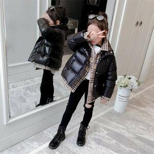 ジュニア アウター キッズ 子供服 ダウンコート ジャケット ダウンジャケット ブラック 長袖 中綿 お出かけ ミディアム 暖かい 厚手コート 重ね着風 上品 高級感 洗える 冬 秋 子供用 男女兼