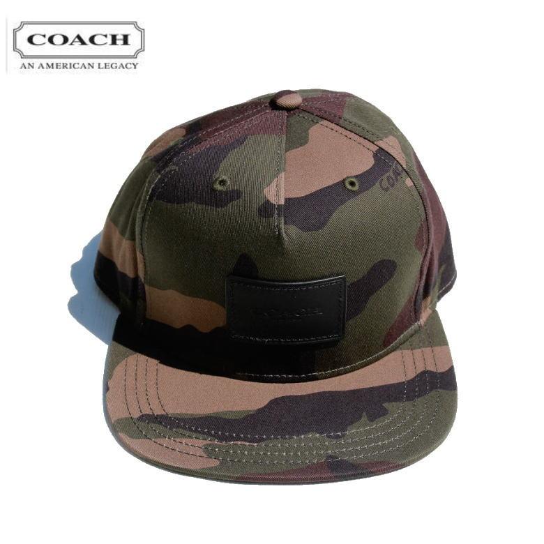 COACH コーチ 21012 CAMO FLAT BRIM HAT キャップ ハット ストリート COACH NEWYORK ストレートキャップ ベースポールキャップ カモ 迷彩 メンズ レディース ワンサイズ