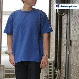 ChampionチャンピオンC5-R305TシャツT-1011UST-SHIRTWITHPOCKETポケットTシャツアメリカ製メディテレニアンブルー