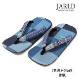 JARLD(ジャールド)JD181-6348雪駄MADEINJAPANおしゃれな足元に♪BLUEジャガードペイズリーバンダナ柄藍染