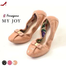 フェラガモ バレエシューズ リボン ペタンコ靴 Salvatore ferrragamo MY JOY 正規品 レディース 携帯 フラットシューズ 黒 ブラック ピンク ベージュ 大きいサイズ 25cm 26cm