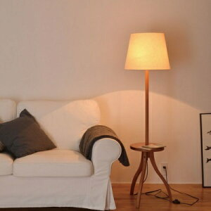 テーブル付きフロアランプ 天然木 ファブリック 柔らかみのあるデザイン 北欧 フットスイッチ 照明 おしゃれ