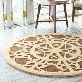 レース模様円形ラグマット 150×150cm カーペット 絨毯 ラグ カービング加工 レース柄 紡績糸 ブラウン ベージュ 可愛い 小ぶりのラグ 茶色系統 おしゃれな空間づくり 絨毯丸 サークル型