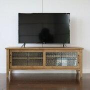 ガラス棚のTVボードモダンなテレビボード120sizeスチール脚コード穴付きナチュラルブラウンシンプルスタイル
