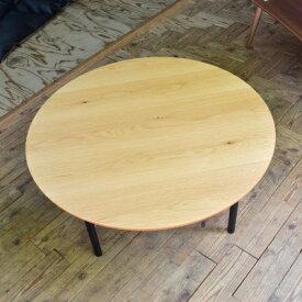 お部屋を明るくするテーブル 円形こたつテーブル 105 天然木 オーク天板 ナチュラル ブラック スリムな脚 こたつ コタツ 炬燵 テーブル 机 円形 明るい 丸いこたつ