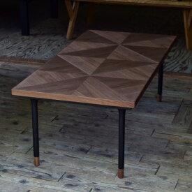 こたつテーブル 幾何学模様 ウッドの質感 ウォールナット コタツ 炬燵 天然木 ブラウンカラー シンプルなスタイル スリムな脚 継脚機能付き