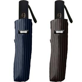 メンズ折りたたみ傘 自動開閉傘 ピンストライプ55cm 耐風仕様 ナチュラルベーシック