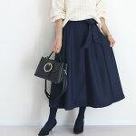 ウエストリボンフェイクウールスカート