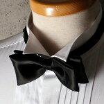 蝶ネクタイ【黒/バタフライ/シルク100%】ブラックタイ(夜の礼装/タキシード/結婚式/2次会/パーティー)