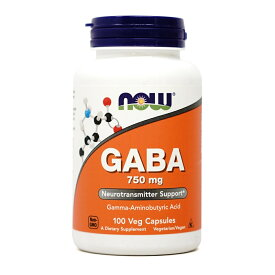 ★Now Foods公式ストア★ナウフーズ ギャバ 750 mg 100 ベジカプセル【Now Foods】GABA 750mg 100 veggie caps