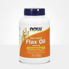 【Now Foods公式ストア】 ナウフーズ フラックスオイル 1000 mg 120ソフトジェル【Now Foods】High Lignan Flax Oil 1,000 mg 120 Softgels