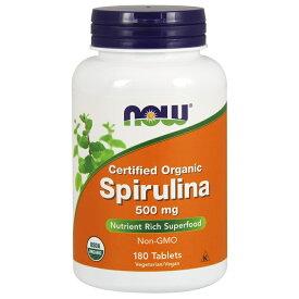 ナウフーズ オーガニック スピルリナ 500 mg 180 錠【Now Foods】Certified Organic Spirulina 500 mg 180 Tablets