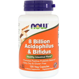 【NOW Foods公式ストア】 ナウフーズ アシドフィルス菌&ビフィズス菌 120粒【NOW Foods】8 Billion Acidophilus & Bifidus Veg Capsules 120CAP