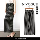 N.Vogue(エヌヴォーグ)ストライプパンツ【6/16up_r】【メール便120円】韓国 韓国ファッション パンツ ワイドパンツ …