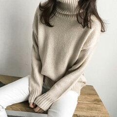 NANING9(ナンニング)タートルネックセーター【11/10up_go】韓国韓国ファッションセータータートルネックニットハイネックトップス無地ゆるニット愛されニットモテニット冬ナンニングレディース【5】