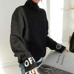 NANING9(ナンニング)ロゴスリーブニット 韓国 韓国ファッション タートルネック セーター 黒 トップス 冬 カジュアル 大人ニット 体系カバー ゆったりニット ナンニング ハイネック ニット レ