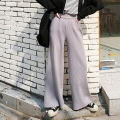 SONYUNARA(ソニョナラ)PEPEプリーツパンツ【3/25up_r】韓国韓国ファッションプリーツパンツワイドパンツニットパンツリブニットニットパンツベルボトム楽ちんパンツウエストゴムレディースファッション【5】