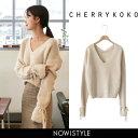 CHERRYKOKO(チェリーココ)we are, knit【10/4up_r】【送料無料】韓国 韓国ファッション ニット Vネック トップス ベ…