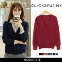 CLICK&FUNNY(クリックアンドファニー)ベーシックVネックカーディガン【8/23up_go】韓国 韓国ファッション カーディガ…