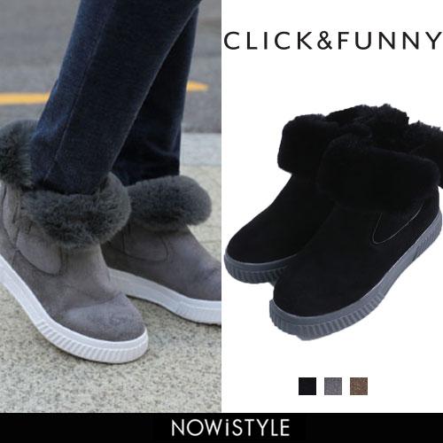 CLICK&FUNNY(クリックアンドファニー)もこもこスニーカーブーツ【12/4up_wo】【送料無料】韓国 韓国ファッション ブーツ スニーカー ボア もこもこ あったか ボアスニーカー ファッション【あす楽】※メール便不可