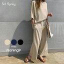 セットアップ レディース NANING9(ナンニング)リネン混紡パンツセットアップ【5/1up再販】 韓国 韓国ファッション ワ…