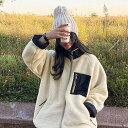 【アウターSALE】NANING9(ナンニング)配色ボアジャンパー【送料無料】韓国 韓国ファッション ボアジャケット ボアコ…