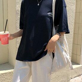 MICHYEORA(ミチョラ)ワンポイントTシャツ【7/12up_go】韓国 韓国ファッション Tシャツ トップス 半袖 ロゴTシャツ 【あす楽】 ※メール便不可