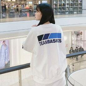 SONYUNARA(ソニョナラ)TEAMBASICS【2/1up_wo】韓国 韓国ファッション ロゴトップス スウェット ロゴ トレーナー カジュアル 春 スウェットトップス レタリング オーバーサイズ ストリートファッション レディース ファッション【あす楽】