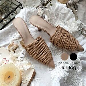 JULL-LOG(ジュローグ)ポインテッドトゥミュール【5/28up_go】韓国 韓国ファッション ポインテッドトゥ パンプス 黒 ミュール ヒール シューズ 夏 オトナカジュアル 靴 オフィスカジュアル ナン