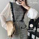JULL-LOG(ジュローグ)ツイードカバーブラウス【10/15up_go】韓国 韓国ファッション フリンジ トップス オケージョ…