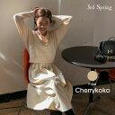 CHERRYKOKO(チェリーココ)ニットレイヤードワンピース【11/1up_mo】【送料無料】韓国 韓国ファッション Vネック ニ…