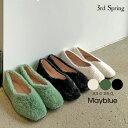 MAYBLUE(メイブルー)ボアフラットシューズ【11/22up_mo】韓国 韓国ファッション シューズ アンゴラ もこもこ ボア…