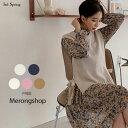 MERONGSHOP(メロンショップ)サイドリボンニットベスト【9/11up_wo】韓国 韓国ファッション トップス 春  ニット …