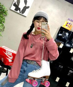 MERONGSHOP(メロンショップ)メロンコットンワイドトレーナー【8/8up_wo】韓国韓国ファッショントップストレーナーTシャツカットソーワイドゆったり大きいサイズオーバーサイズカラートレーナーペアルック双子コーデレディースファッション【5】※メール便不可