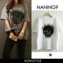 NANING9(ナンニング)RIDE ONダメージTシャツ【4/6up_go】【メール便】韓国 韓国ファッション ロゴT 半袖 Tシャツ ダ…