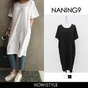 NANING9(ナンニング)変形スリットロングTシャツ【5/30up_go】【メール便】韓国 韓国ファッション ロング丈 Tシャツ …