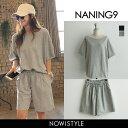 NANING9(ナンニング)Tシャツ&ショートパンツセット【8/9up_go】韓国 韓国ファッション 無地T 半袖 Tシャツ ゆったり…