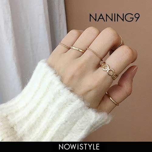 NANING9(ナンニング)リング6本セット【12/5up_go】韓国 韓国ファッション ファランジリング ゴールド リング 華奢 アクセサリー オフィス ジュエリー オケージョン 指輪 シンプル ピンキーリング ナンニング 【あす楽】