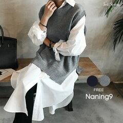 NANING9(ナンニング)クルーネックニットベスト【9/5up_go】【送料無料】韓国韓国ファッションゆったりニットベストクルーネックニットベスト秋カジュアルオトナカジュアル重ね着レディースファッション【5】